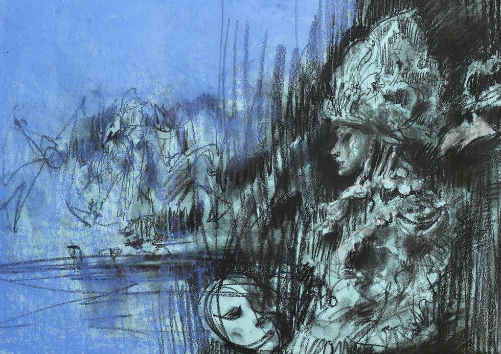 """""""Венецианские маски"""". Бумага, пастель. 50X70. 2006."""
