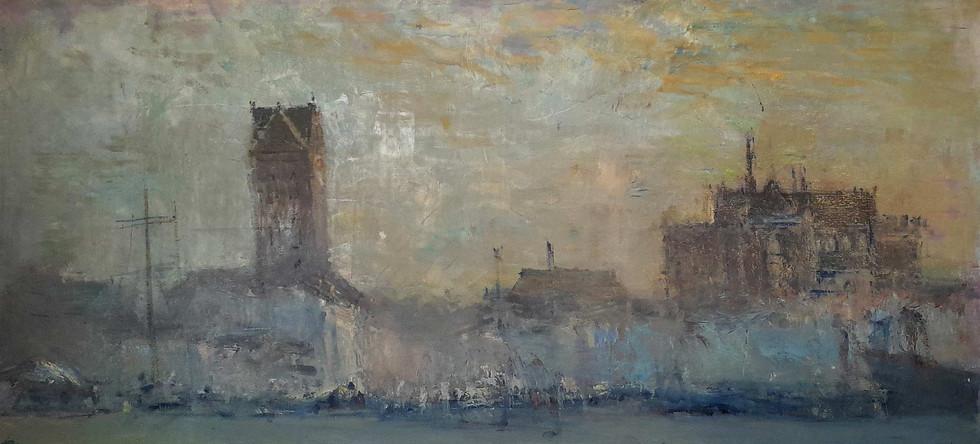 """""""Висмар. Утро в гавани"""". 70X150. Холст, масло. 2012"""