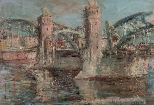 """Мост Петра Великого"". 50X70. Картон, масло. 2015"