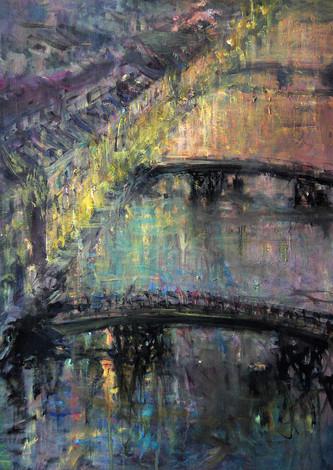"""Мосты. Фонтанка."" 90X60. Холст, масло. 2007"