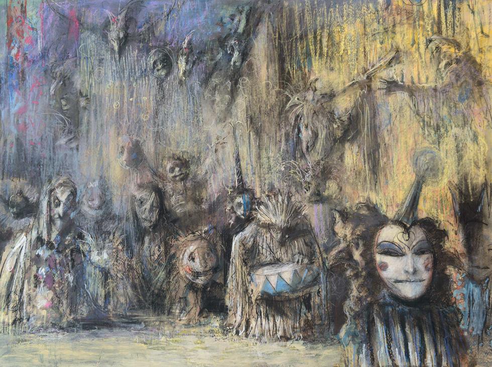 """""""Ночь дураков. Карнавал в Венеции"""". 80Х105. Картон, пастель. 2002."""
