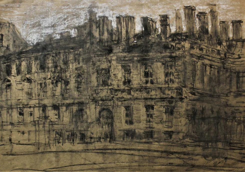 """""""Дом на Фонтанке"""". Бумага, пастель. 49.5х60. 2007."""