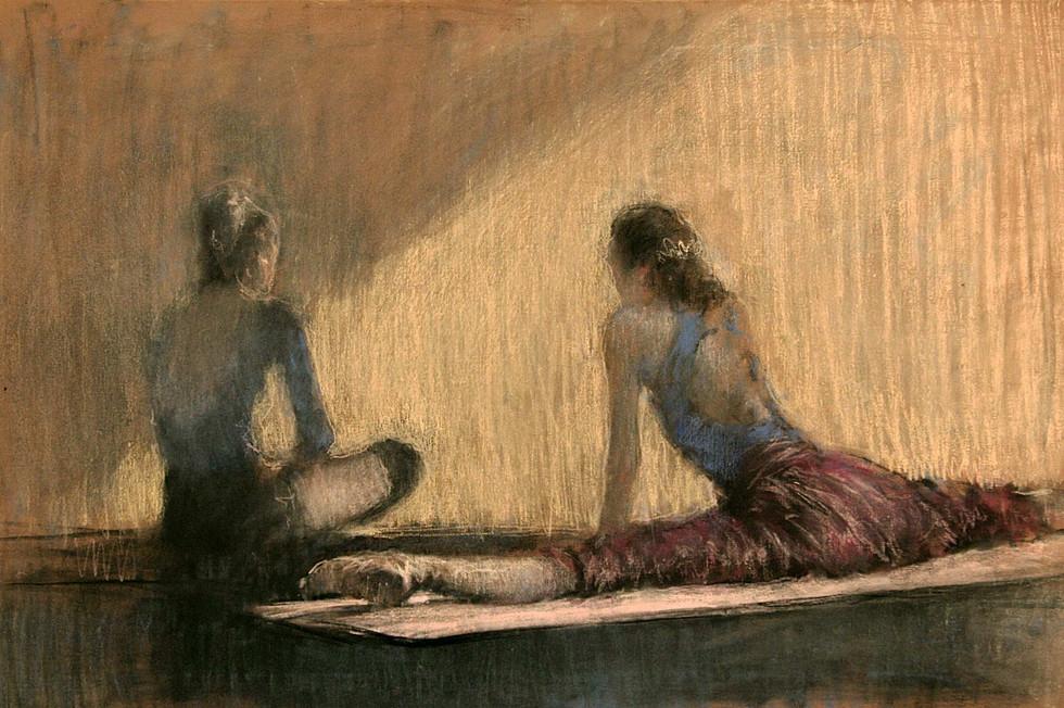 """""""На репетиции"""". Бумага, пастель. 55х80. 2002."""