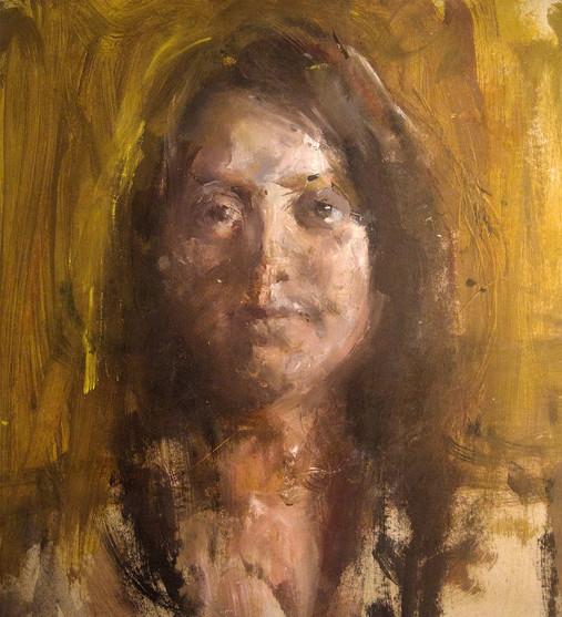 """Портрет девушки"". 47Х43. Картон, масло. 2015."