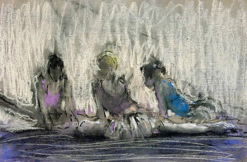 """""""Сплетницы"""". Бумага, пастель. 50х70. 2006."""