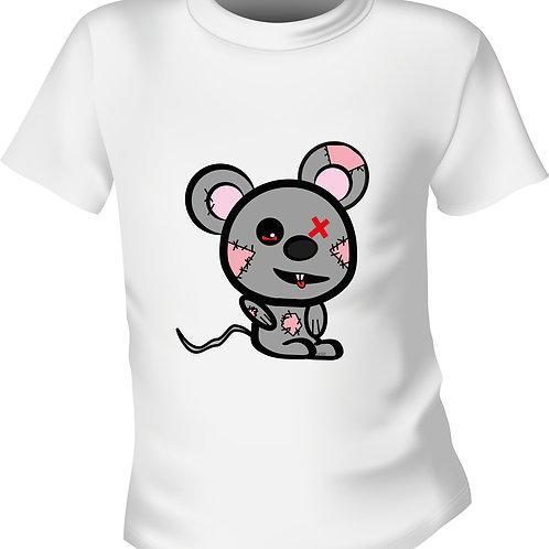 Graue Maus mit Lila Ohr
