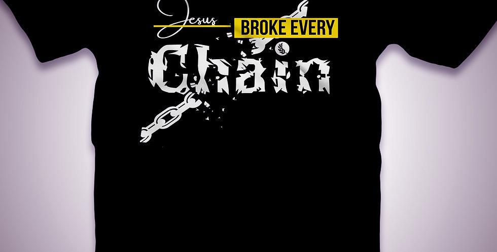 M'boro Only- Women's Black V-neck- Jesus Broke Every Chain T-shirt