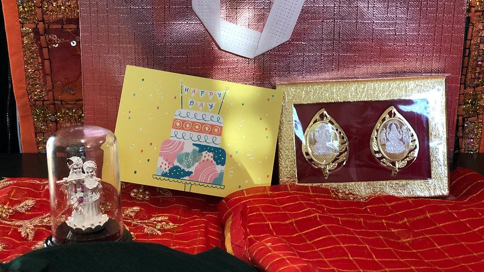 Gift Bag -  Designer Sari with Silver Pooja Items