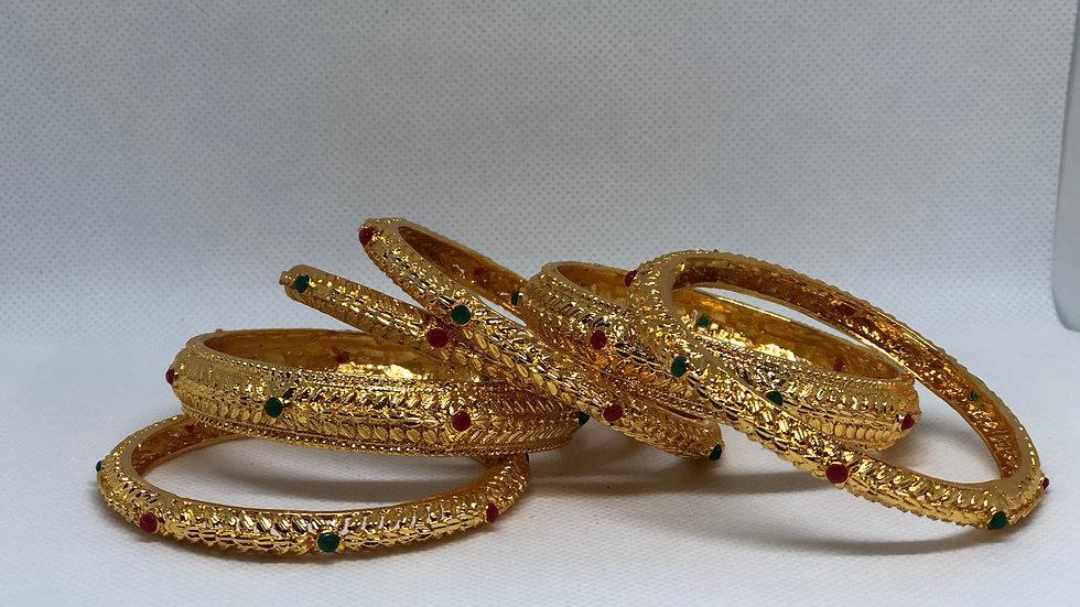 Sai Raj Gold Plated Maroon And Green Bangles Set