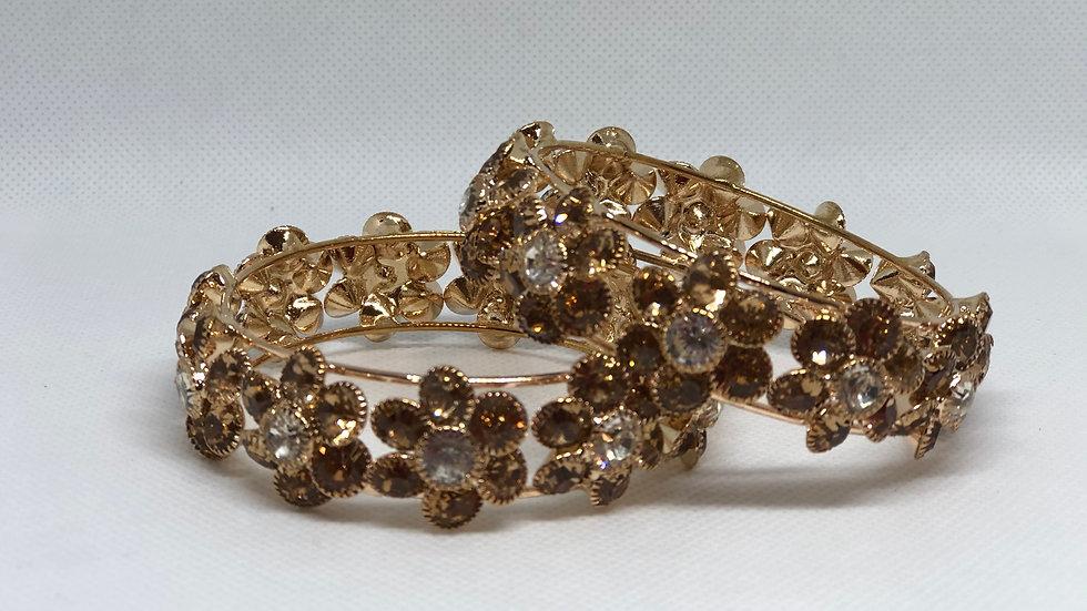Flower design Party Wear Gold toned American Diamond Kada for Women