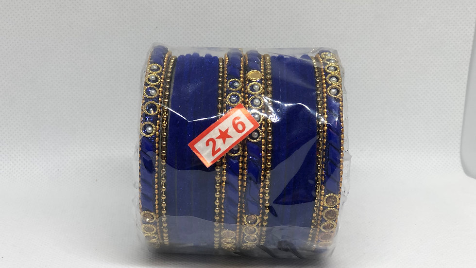 Blue Thread Bangles Set - Size 2.6