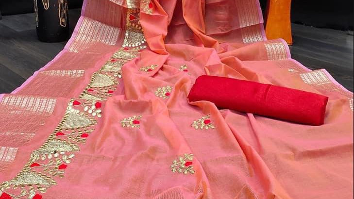 Peach subtle color sari with beautiful embroidery