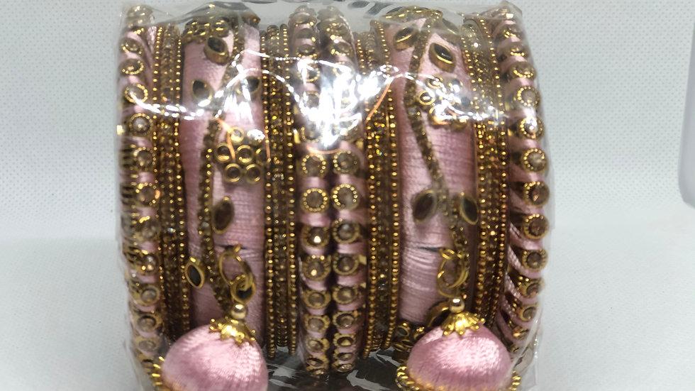 Pink Thread Bangles Set - Size 2.6
