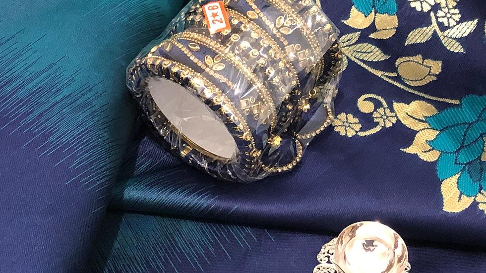 Gift Bag - Teal sari withmatching bangles and silver lamp