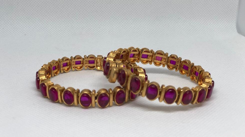 Small - Varso Kempu Gold Antique Plated Flexible Bangles