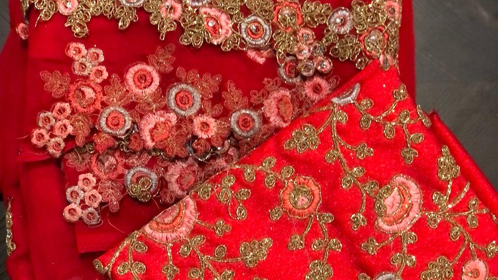 Dark red designer sari