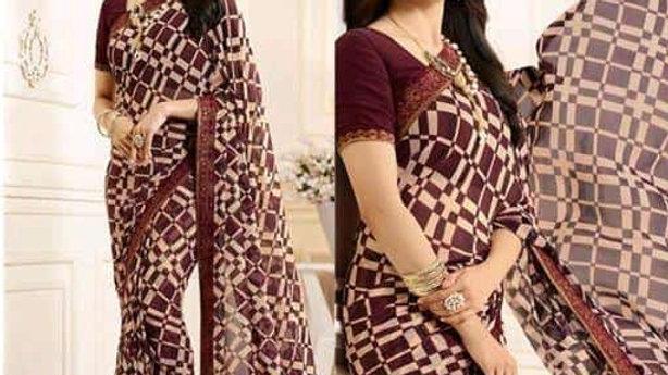 Georgette printed designer sari