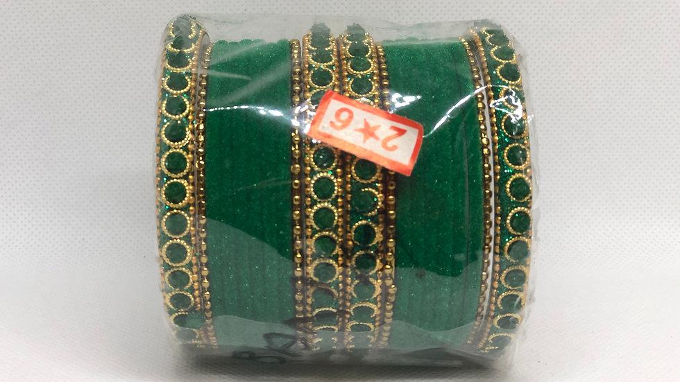 Green Thread Bangles Set - Size 2.6