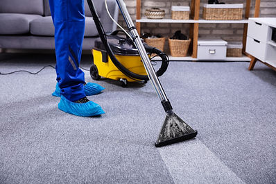 Human Cleaning Carpet In The Living Room