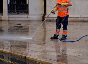 City workers - cleaning and washing of c