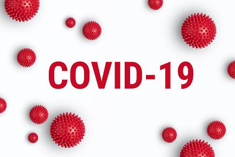 Inscription COVID-19 on white background