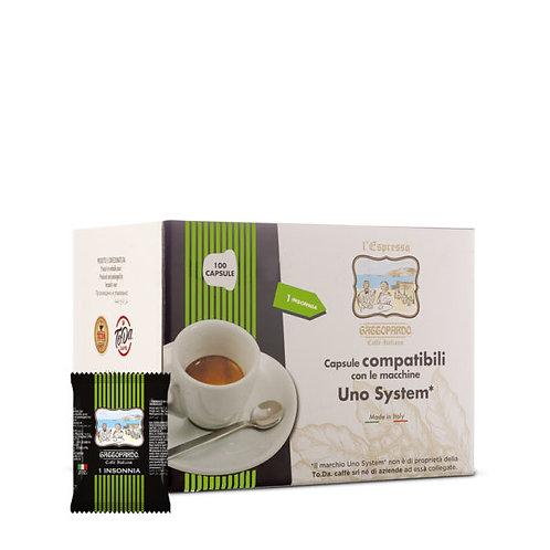100 Gattopardo Insomia compatible coffee capsules UNO SYSTEM [€ 0.13 / capsule]