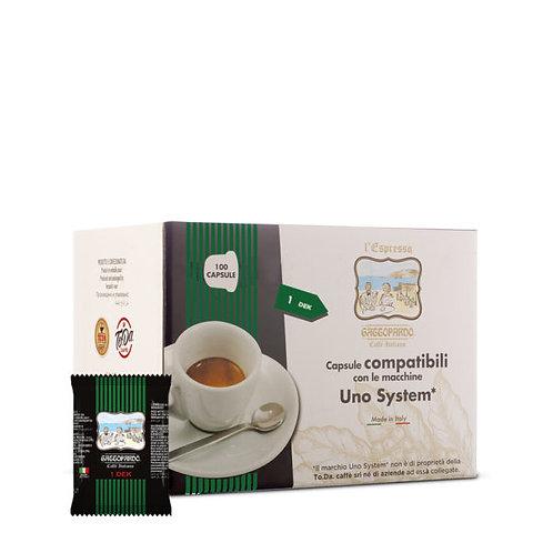 100 Coffee caps GATTOPARDO DECA Uno system