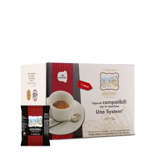100 geschmacksintensive Gattopardo-Kaffeekapseln UNO SYSTEM [0,14 € / Kapsel]