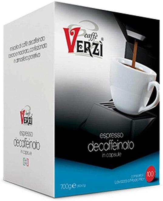 Caffè Verzì 100 capsule DECAFFEINATO compatibili A MODO MIO