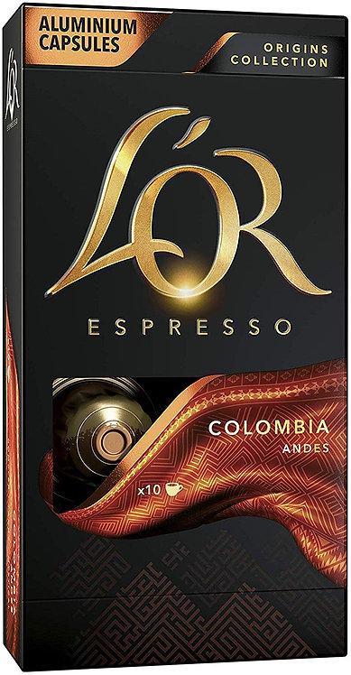 10 aluminum capsules L'Or Colombia compatible NESPRESSO [0,26 € / capsule]