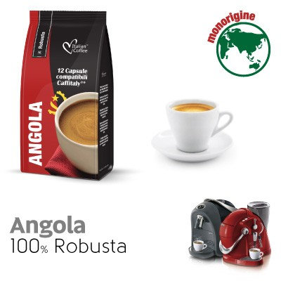 96 coffee capsules 100% Robusta Angola compatible CAFFITALY [0,18 € / capsule]