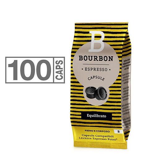 100 caps. Bourbon balanced compatible LAVAZZA ESPRESSO POINT [0,13 € / capsule]
