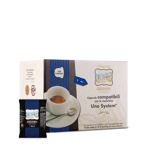100 Blue Leopard kompatible Kaffeekapseln UNO SYSTEM [0,15 € / Kapsel]