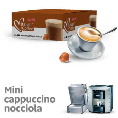 25 cappuccino capsules with hazelnut flavor compatible with espresso point