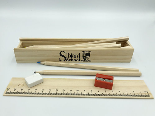 School Wooden Pencil Box Set