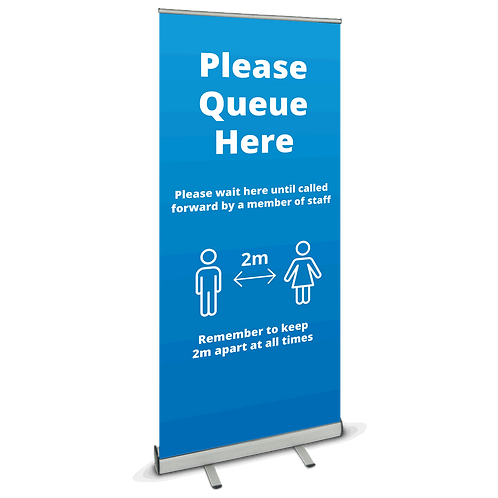 'Please Queue Here' Roller Banner