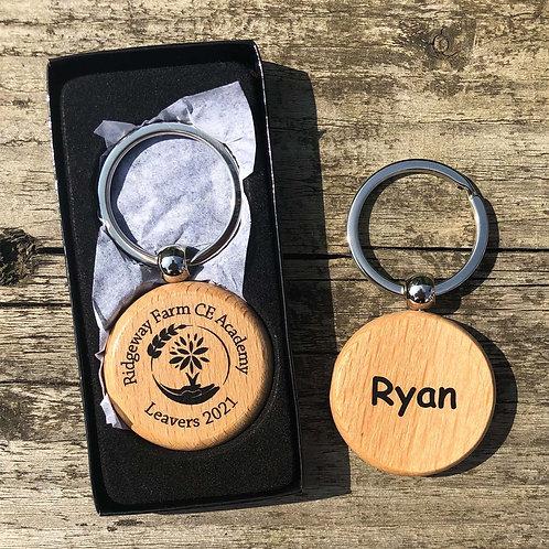 Round Beech Wood Keyring