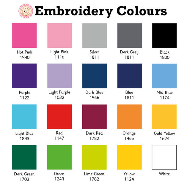 Embroidery colour chart
