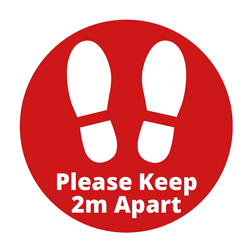 '2m Distance' Circle Floor Sticker (PACK OF 10)
