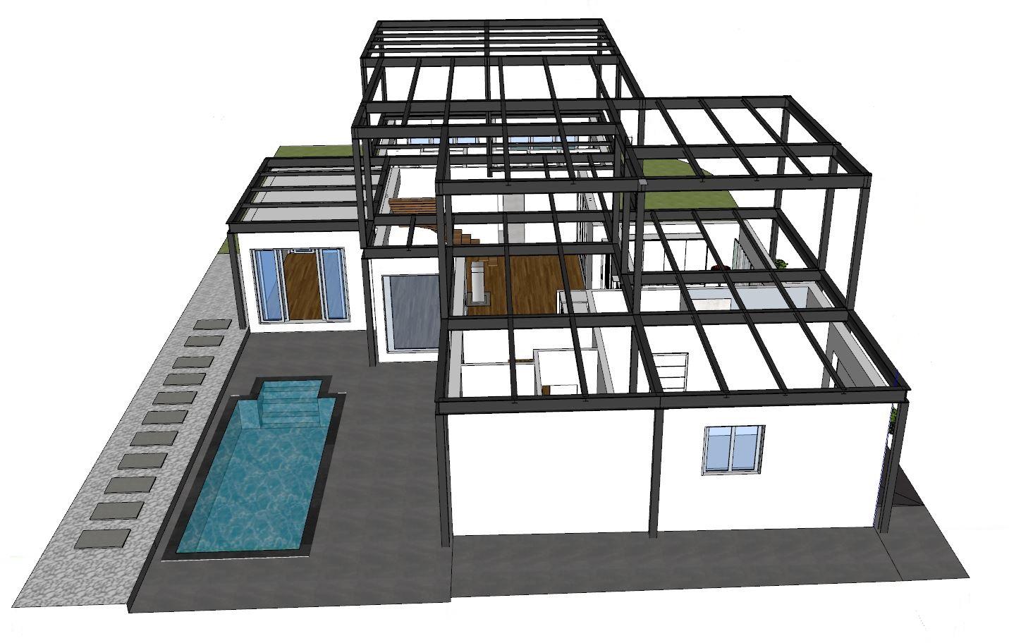 04 Carpenteria metallica vista laterale lato piscina
