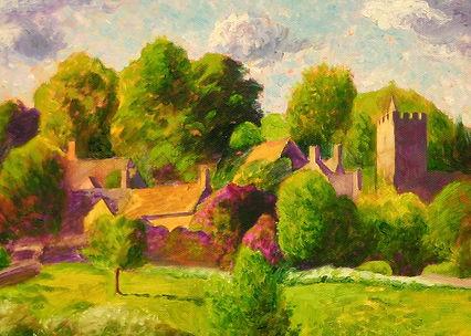 Cotswold Vintage Railway Poster Art Guy Warner Artist Landscape Painting