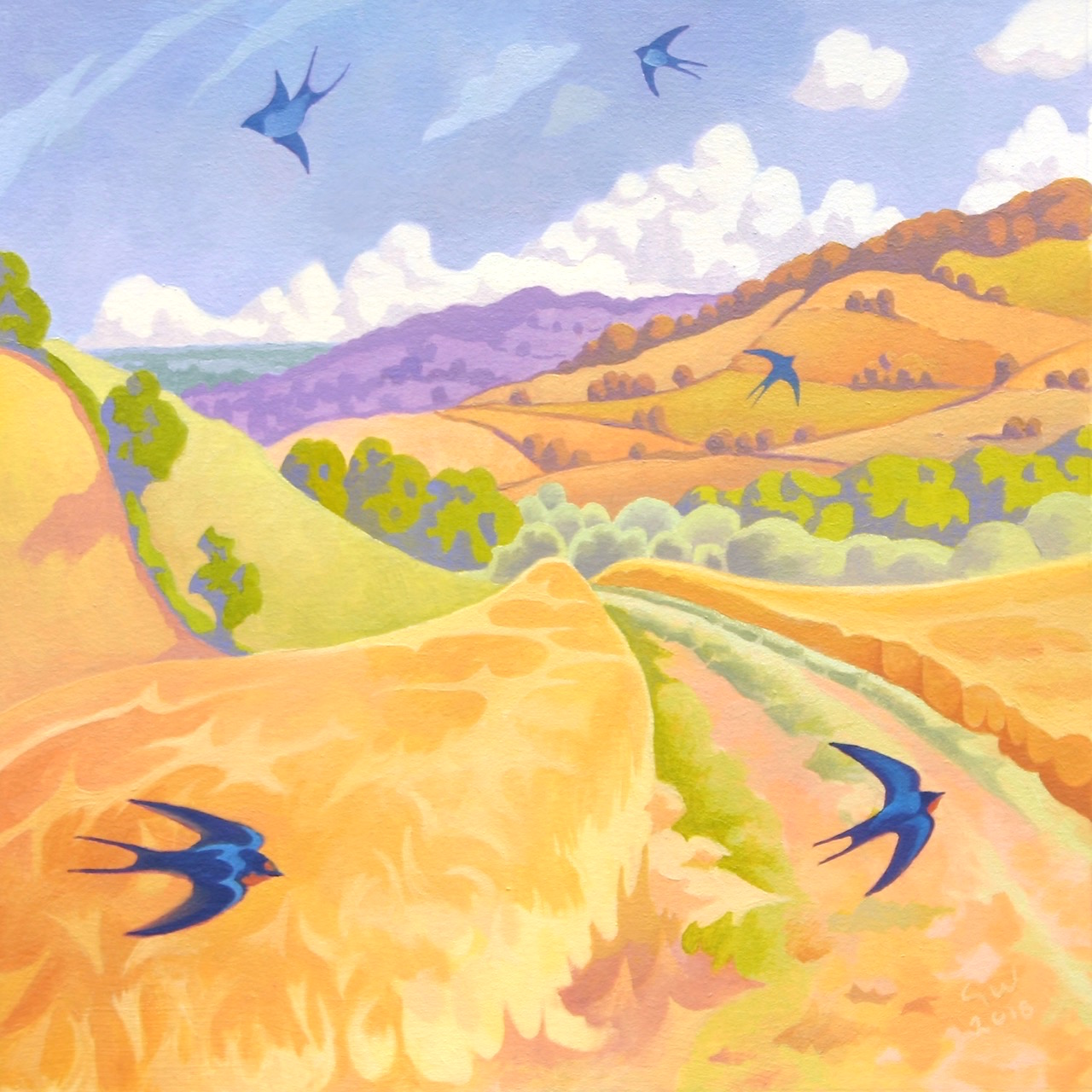 The Track through the Barley Guy Warner Painting Green Pebble Greeting Card