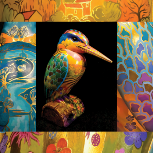 Sulis the Golden Kingfisher - Single Greetings Card