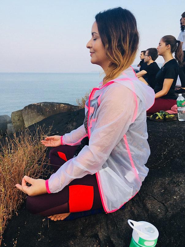 Early morning meditation in Goa, India. Yoga teacher training in India