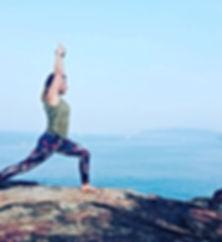 Practising yoga by Agonda Beach in India. Yoga classes in Cheltenham, 1-1 yoga therapy, yoga Cheltenham