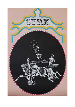 1280 - Circus People with Horse in Black Circle