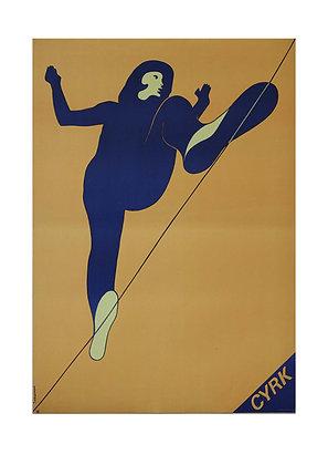 1412 - Circus Tightrope on Orange Background