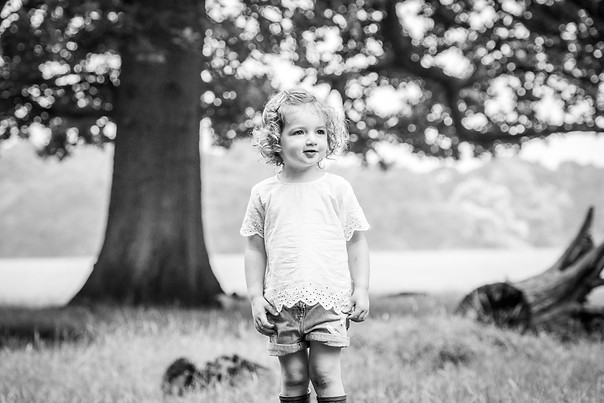 Outdoor black and white toddler photography