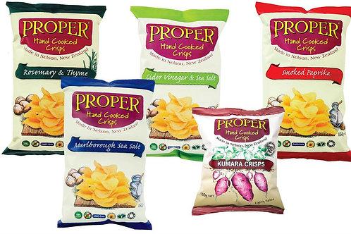 Proper Crisps -  Sea Salt, Cider Vinegar & Sea Salt or Sweet Smoked Paprika