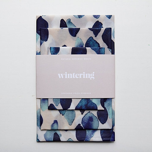 Wintering Beeswax Wrap, Indigo Rain